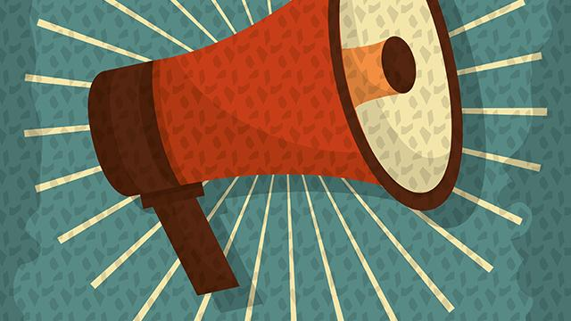 Bullhorn call to action illustration
