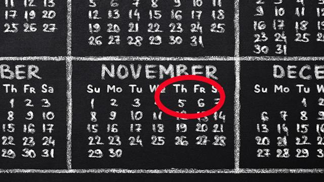 Month of November with the 5th and 6th circled in red.