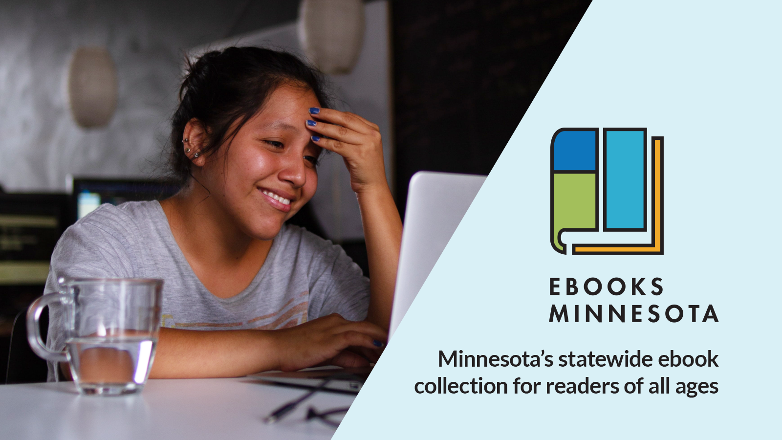 "A photo of a student at a computer, with the Ebooks Minnesota and text that reads ""Minnesota's statewide ebook collection for readers of all ages"""