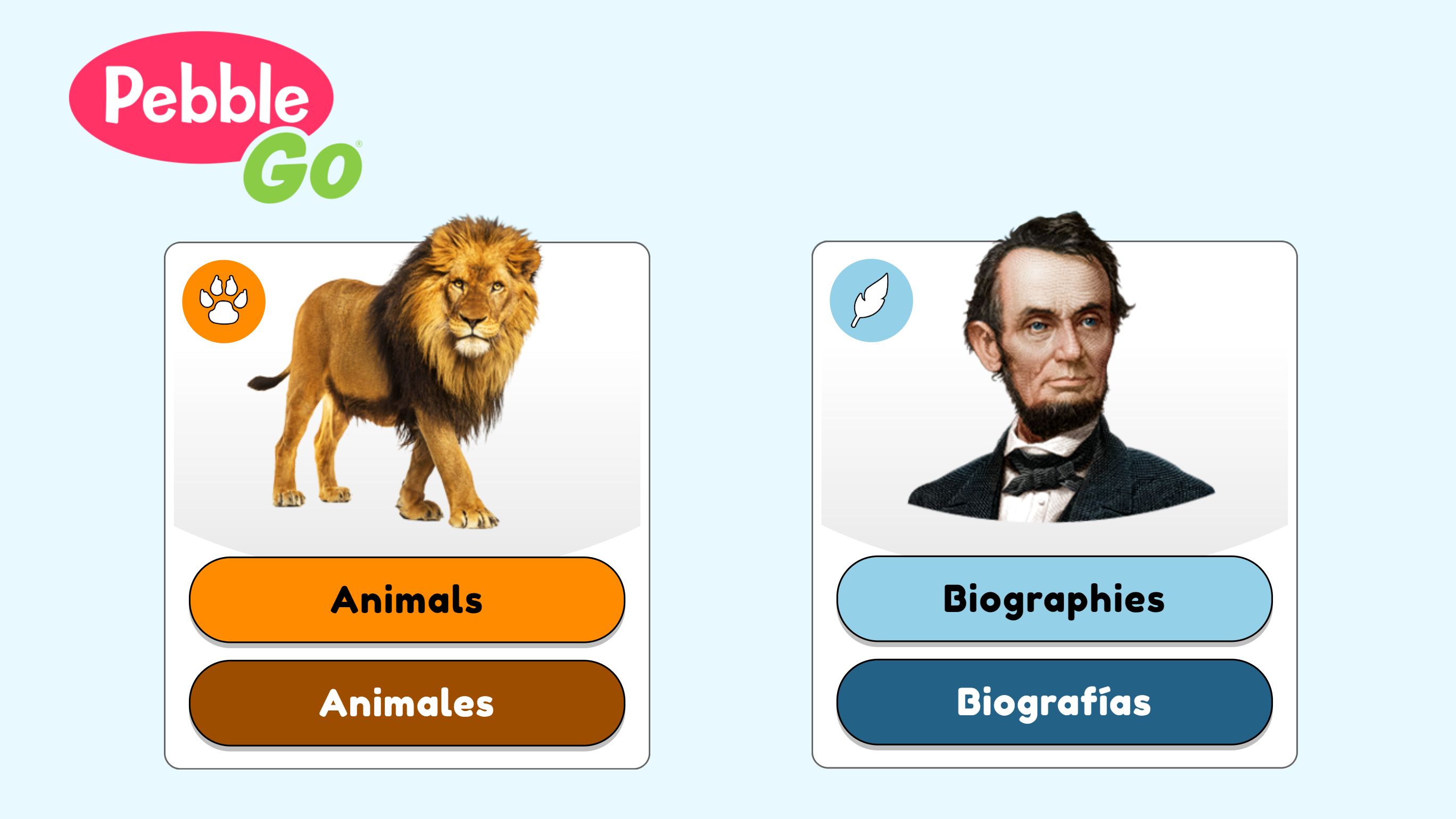 A screencap of Pebble Go and its Animals and Biographies sections.