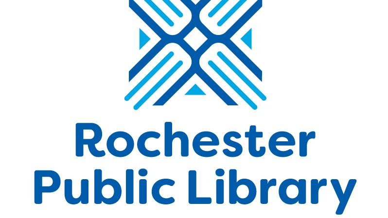The square-shaped blue and light blue Rochester Public Library logo above its blue wordmark.
