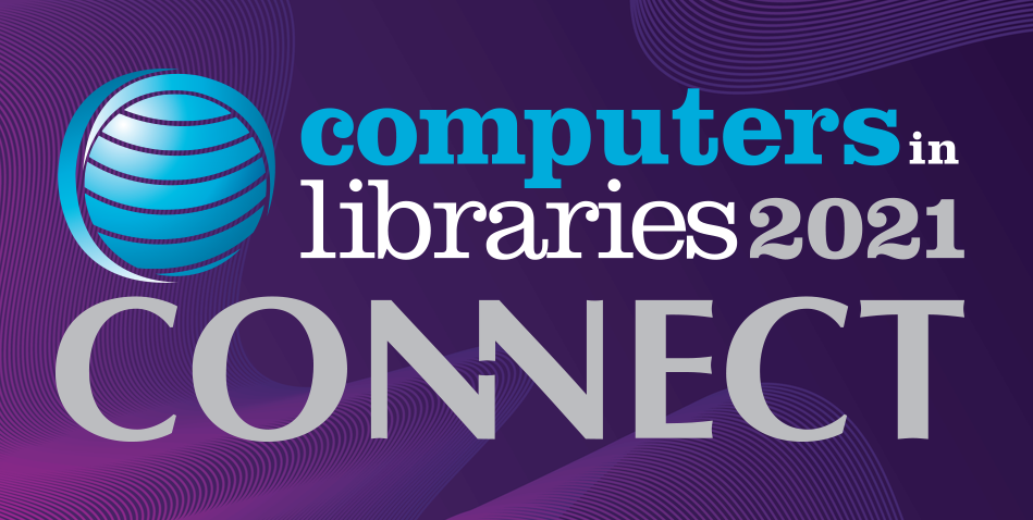 The logo for Computers in Libraries Connect 2021. A purple background featuring a blue globe and blue, white, and gray lettering.