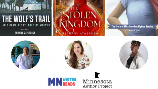 Images of the three winning book covers and authors for the 2020 Minnesota Author Project.