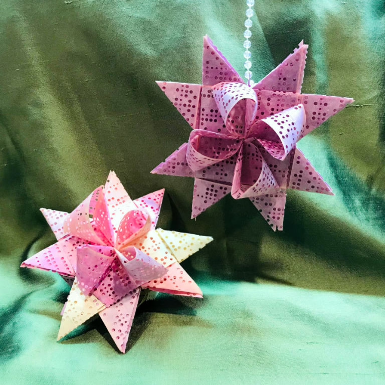 A photo of ornaments created out of the teletype tape that ferried requests between libraries and Minitex.