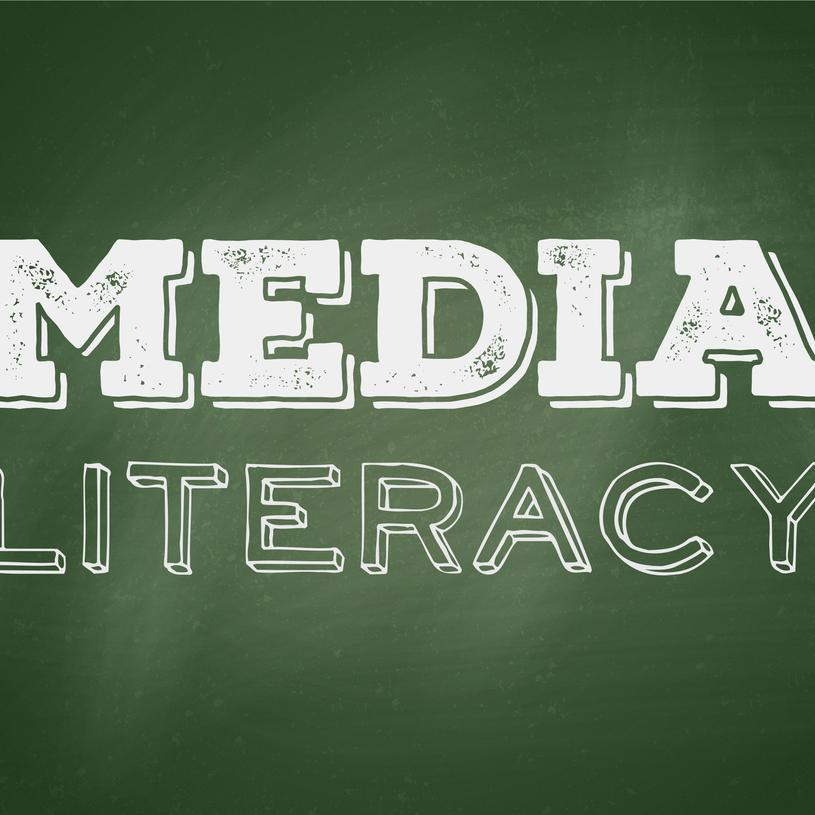 Green background with words Media Literacy